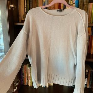 Sky blue short sweater with bell sleeves